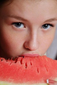 Model Emily Bloom in Watermelon