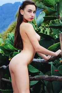 Model Gloria Sol in Leaves